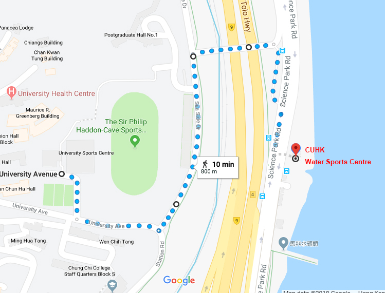 Route from University Sports Centre to Water Sports Centre